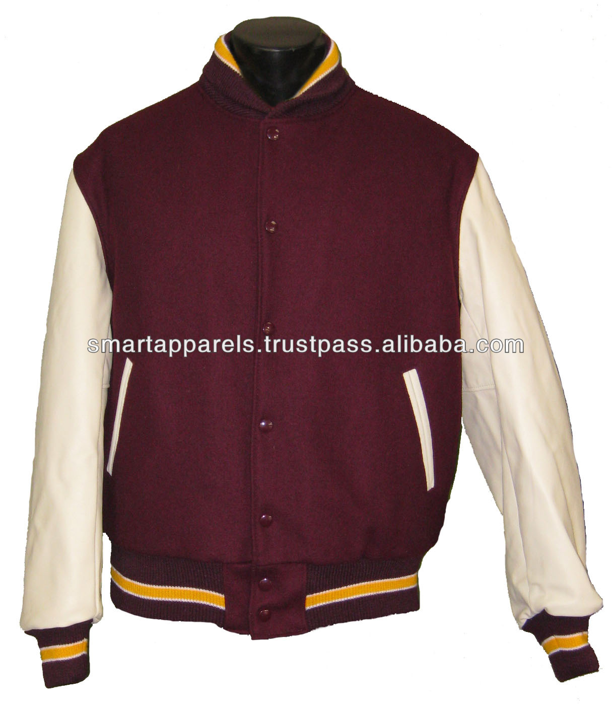 white leather sleeves varsity letterman jackets wholesale