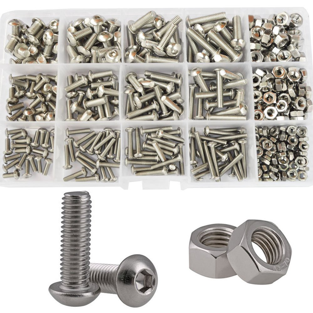 Button Head Hex Socket Cap Bolts Screws Nuts Metric Allen Drive Hardware Assortment Kit,434Pcs 304Stainless Steel M3 M4 M5