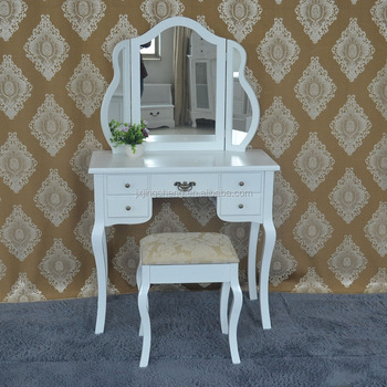 Vanity Dressing Table Simple Makeup Wooden French Antique White Painted Shabby Chic