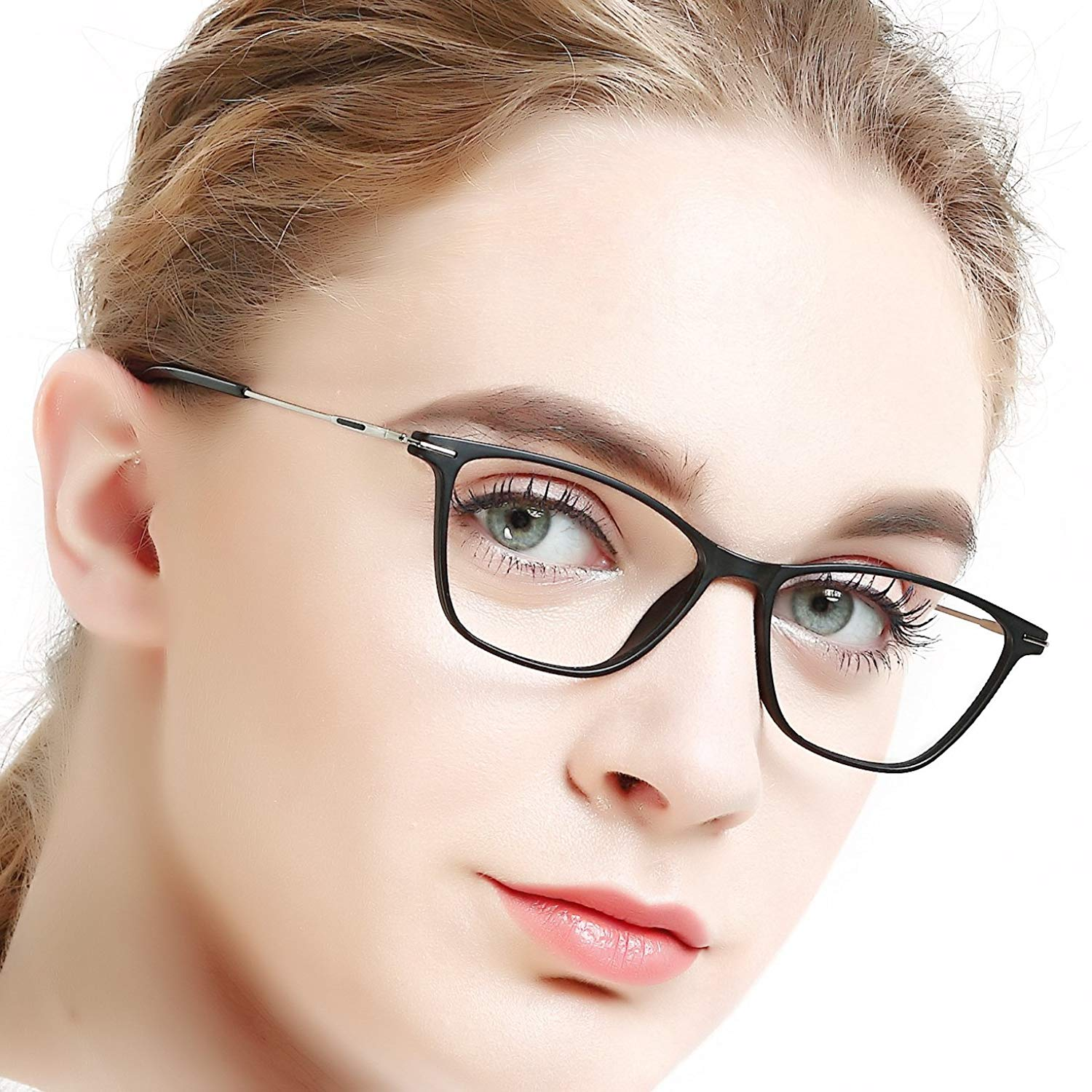 94f7404de82 Get Quotations · Eyewear Frames-OCCI CHIARI-Rectangle Lightweight Non-Prescription  Eyeglasses Frame with Clear Lenses