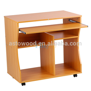 Computer Desk Study Table Movable Portable Trolley Workstation 2 Shelves 4 Wheel