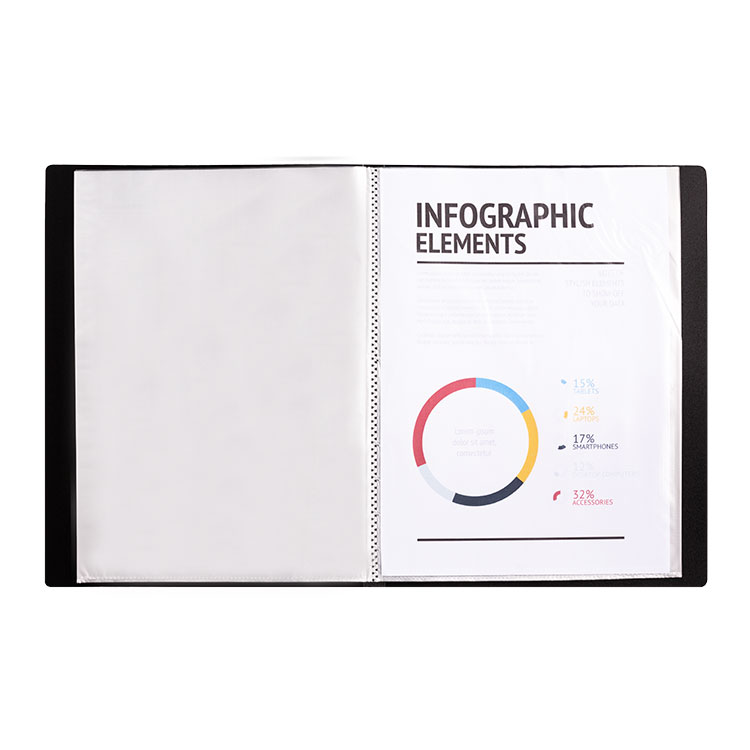 A4 20 Pocket Display Book with Full Length Spine Label
