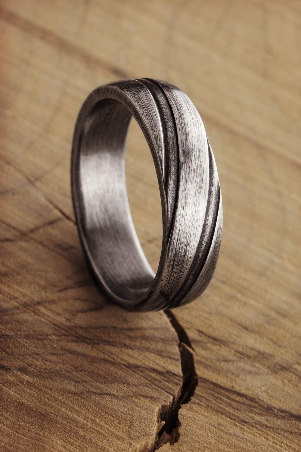 Engraved Silver Ring, Oxidized Silver Design, 925 Sterling Silver Ring, Engraved Lines, Thick Solid Silver Band, Gift For Her, Gift For Him/code: 0.006
