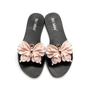 Fashion Cloth Bow Slipper Cheap Wholesale Footwear Woman Pcu Shoe Beach Lady Fancy Plastic Shoes Flat Pvc Flower Sandal