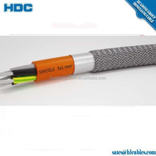 Steel braided SiHF/GLS Flexible cable 5x1mm2 class 5 tinned copper conductor Silicone rubber glass fiber grid cable price