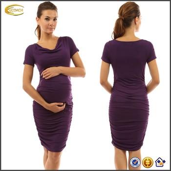 09e8c250b Ecoach moda al por mayor del OEM mujeres embarazo ropa cuello corto manga  lápiz apretado vestido