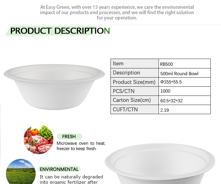 Easy Green 500ml Round Tableware Container Disposable Ramen Custom Print Paper Bowls