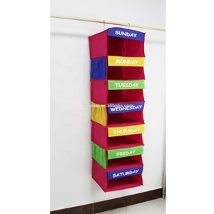 7 Cases children printed non-woven small capacity foldable Monday-Sunday Hanging Organizer Home Storage Box with hooks