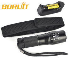 Boruit Battery Powered 10w CREE XML T6 LED Zoom Flashlight with Pouch RJ-2665