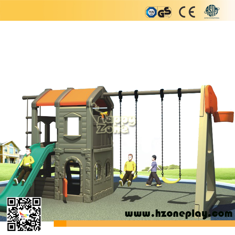 Kindergarten playhouse swing set cheap children toy kids slides play house with swing