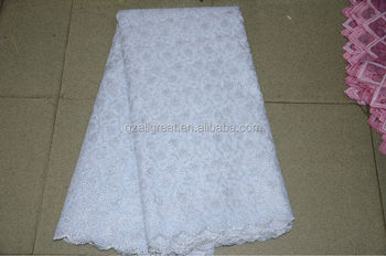 high quality white organza lace fabric