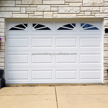 White Color Overhead Garage Door With Window Automatic