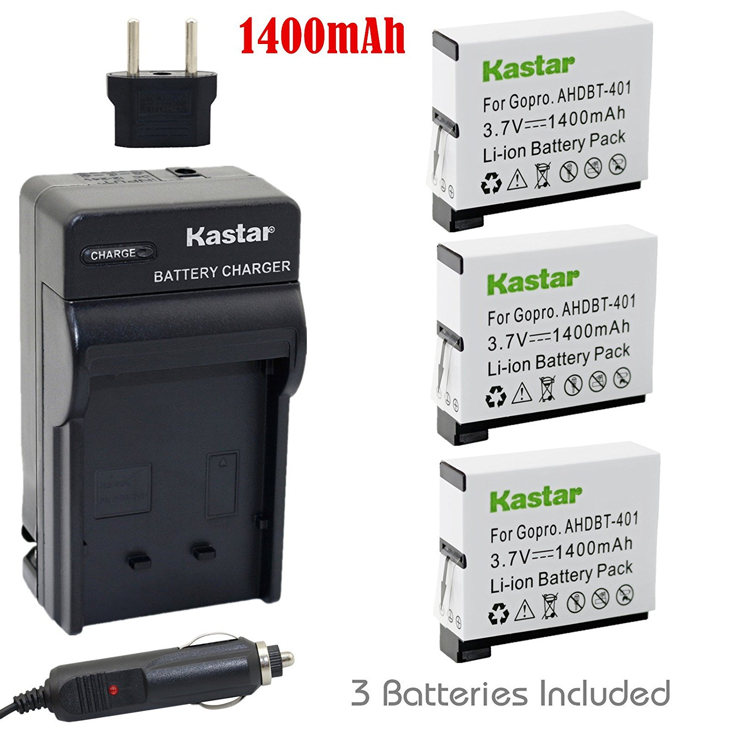 Kastar Battery (3-Pack) and Charger Kit for GoPro HERO4 and GoPro AHDBT-401, AHBBP-401 Sport Cameras