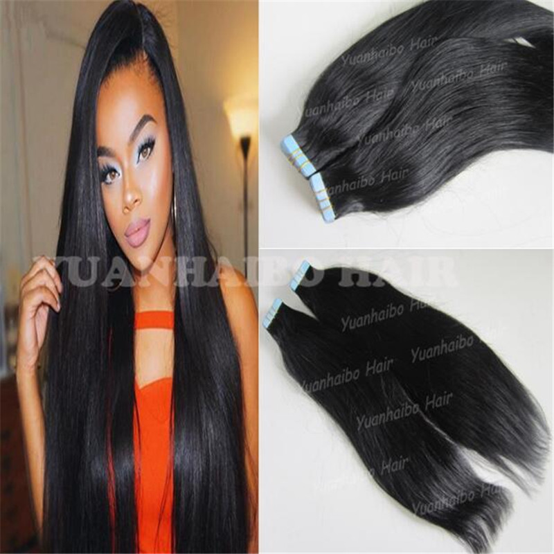 Hotsale 8a quality Indian human hair skin weft hair 40pcs/pack,300g/lot jet black #1 silky straight double tape hair extension