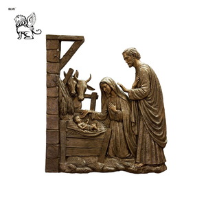 hotsales outdoor home decor mary joseph and baby jesus figurines bronze sculpture statue JSG-135