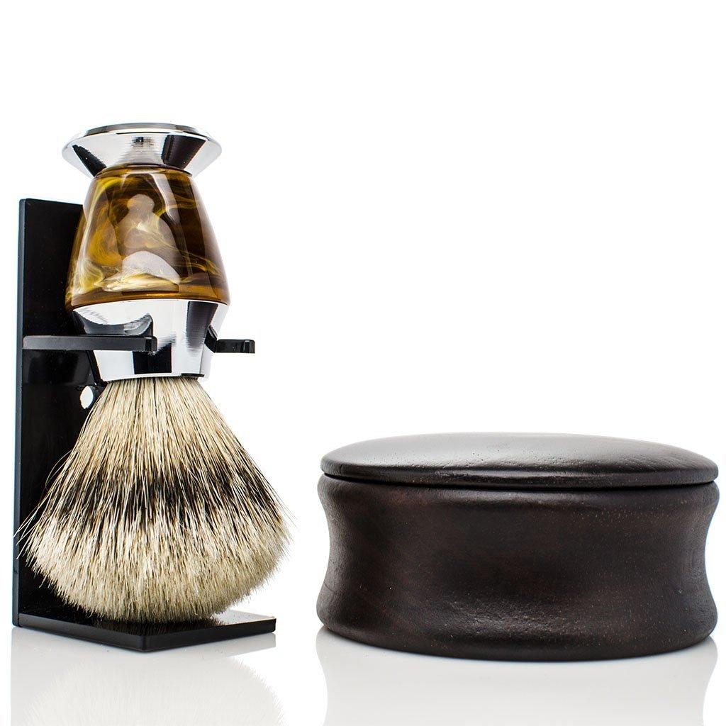 Maison Lambert Badger Shaving set - Include: wooden shaving bowl, badger shaving brush and an organic shaving soap. Please your men with this shaving kit! (Silvertip Badger Shaving brush)