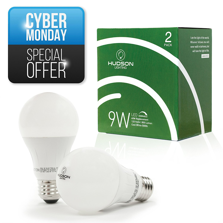 Hudson Lighting Dimmable LED Light Bulbs 2 Pack - 60 Watt Equivalent - A19 - 800 Lumens - Cool White 5000k - 9 Watt - Premium LED Bulb for home or business - Indoor and Outdoor