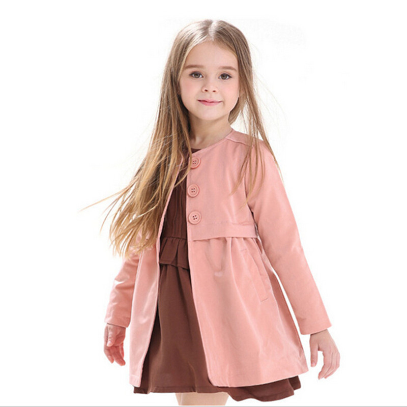 girls jacket children s clothing kids spring autumn child medium long 2016 baby outerwear girl trench