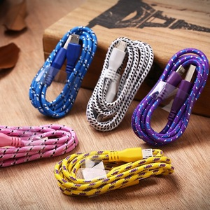 For iPhone 5/6/6s 1m Colorful Nylon Braided 8 pin usb cable charger and data sync cable