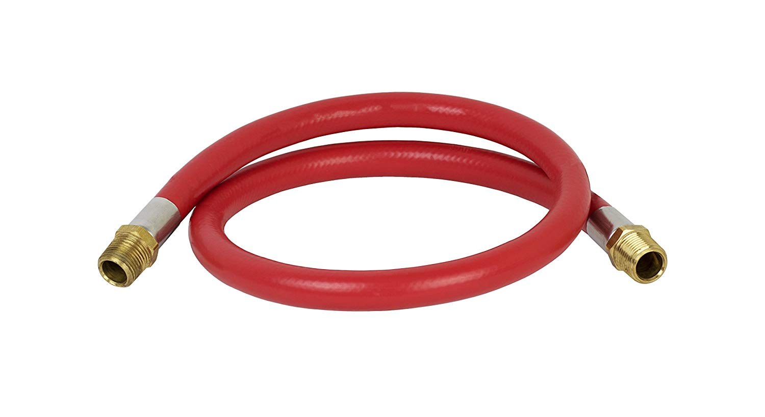 """PneumaticPlus RED EPDM Synthetic Rubber Air & Water Hose 1/2"""" OD with 1/2"""" NPT Swivel Male Fitting Connections (3 FT)"""