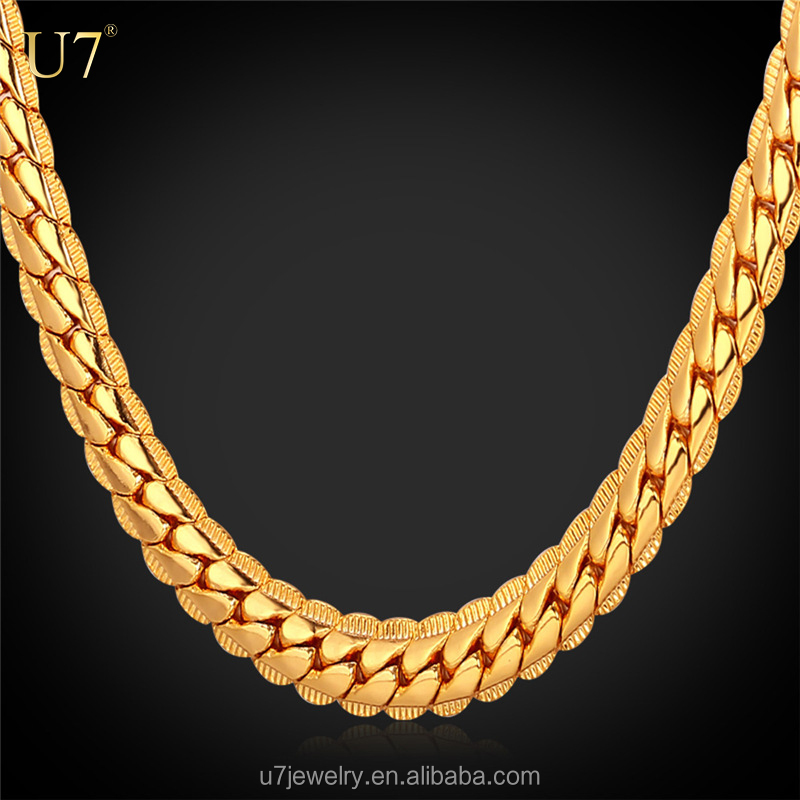 U7 18k gold plated cuban link chain necklace new gold chain design for men N739-22