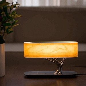Fancy modern bedside decorate wireless charging luxury table lamp led wood