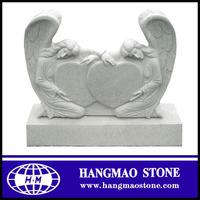 Pray Angle Statue Heart Shape Grey And Black Granite Tombstone ...