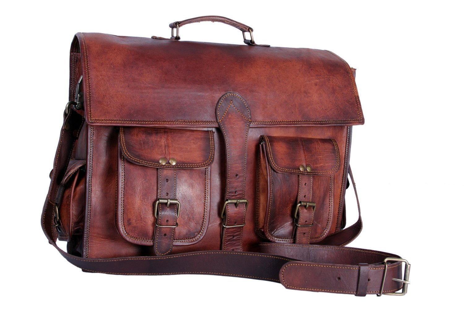 "15"" Vintage Leather Messenger Soft Leather Briefcase Satchel Leather Laptop Messenger Bag for Men and Women"