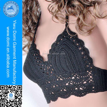 Cotton/polyester black women beachwear crochet knitting bikini in top