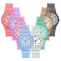 Christmas gift kids watch transparent candy color kids watch