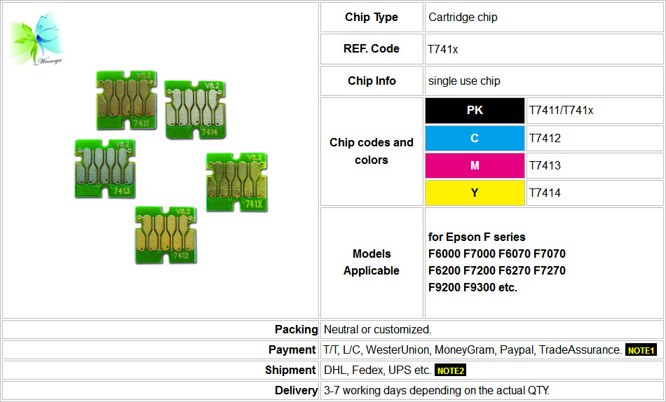 refillable ink cartridge chip, stable new one time use chip compatible for Epson f6070 printer