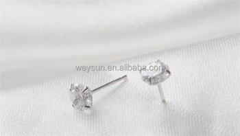 Korean Simple Silver Plated Stud Earrings For Women Men Round