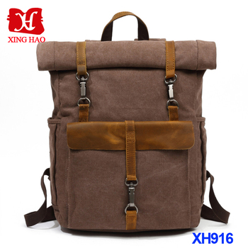 Travel Backpack Leather And Canvas Backpack Vintage Canvas Backpack Canvas  Rucksack