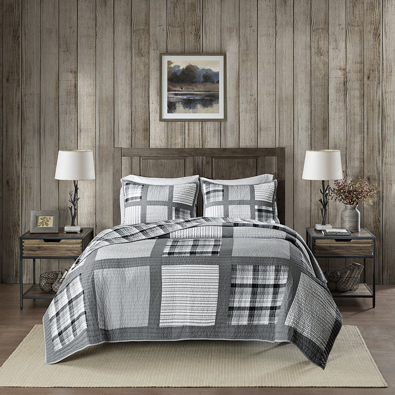 3 Piece Oversized Black Grey White King/ Cal King Quilt Set, Patchwork Pattern Bedding Tartan Plaid Themed Houndstooth Winter Cozy Stylish Cabin Lodge Cottage Warm Gray Trendy Stripe, Percale Cotton