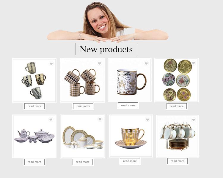 Banhado a ouro talheres porcelana xícara de café e pires oval conjunto xícara de café turco