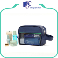 Promotional travel men leather cosmetic makeup bag