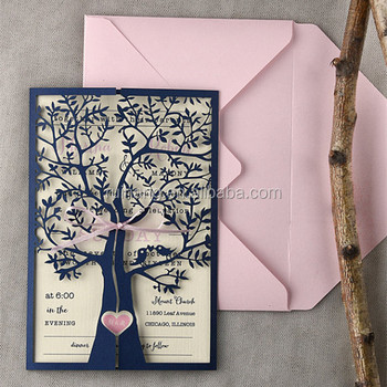 Beautiful Pink Navy Heart Rustic Laser Cut Tree Invitation Idea