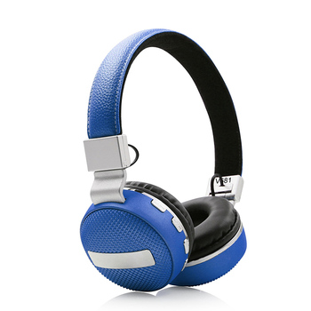 Fashionable blue wireless bt stereo headphones,bt earphones with soft earbuds