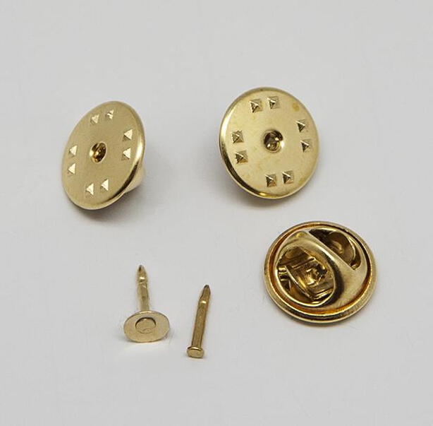 11mm butterfly clutches with nails Brass collar clip pin backs for badge, Other colors available