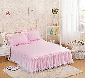 gangnumsky-3Pieces Solid Color Lace Luxury Bedding Sets Queen Bed Sets For Girl Bed Sheet Set Pillow Case Customizable-G
