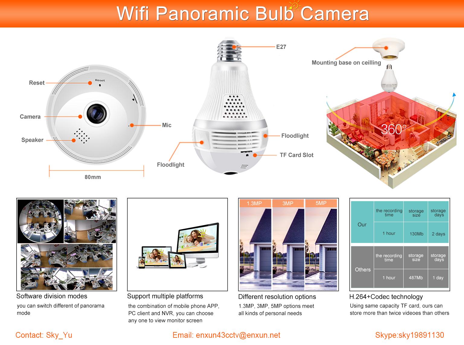 Ipc360 Light Bulb Camera Ptz Cctv Ip Camera With Night Vision 1 3mp - Buy  360 Light Bulb Camera,Ceiling Light Camera,Ip Camera With Night Vision