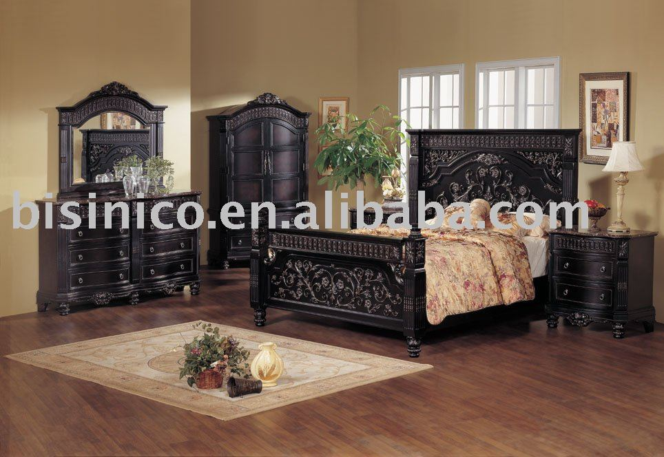 black bedroom furniture sets king | Classical wooden hand carving bedroom furniture, black ...