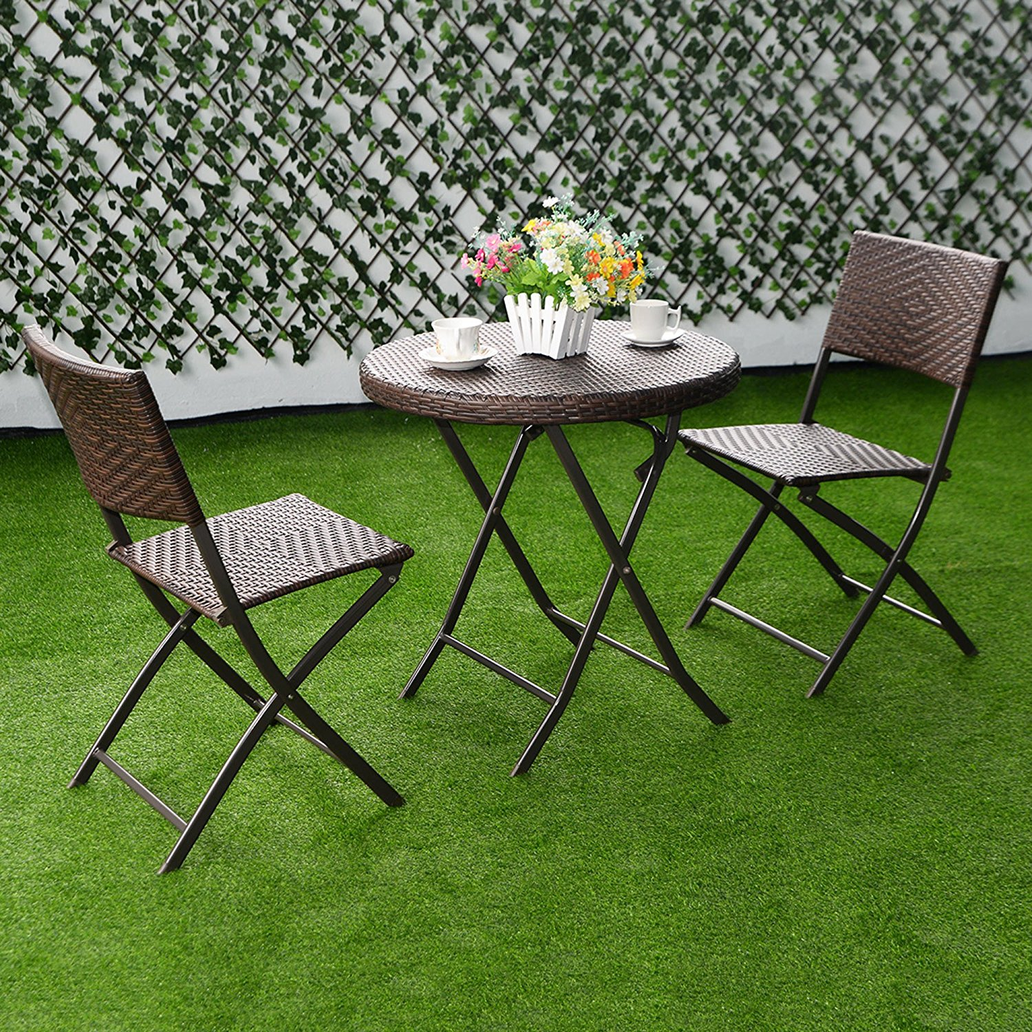 Get Quotations · 3 Piece Patio Bistro Set Rattan Wicker Furniture For  Outdoor Garden Beach Patio And Poolside.