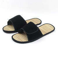 Wholesale open toe spa bamboo straw material home slippers, biodegradable zori slippers bamboo sandals