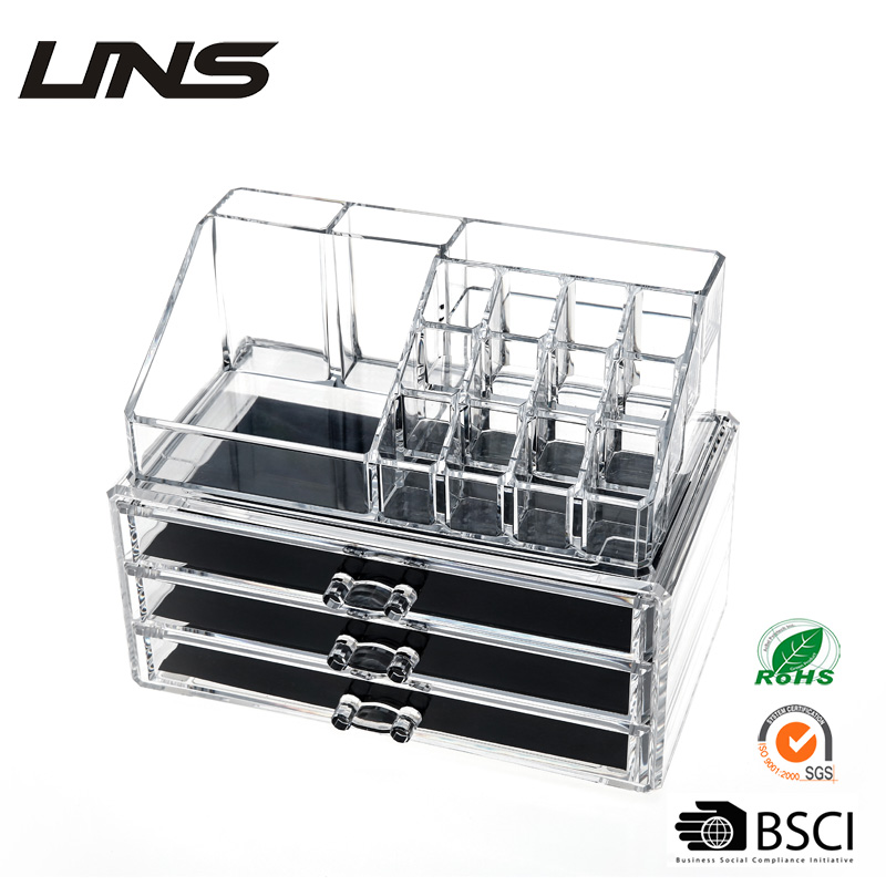 acrylic cosmetic organizer/plastic packaging box/ acrylic makeup organizer