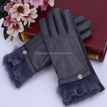 2016 Classic Black Pu/Not Velvet Fleece Two-In-One Ladies' Gloves With Multi Design