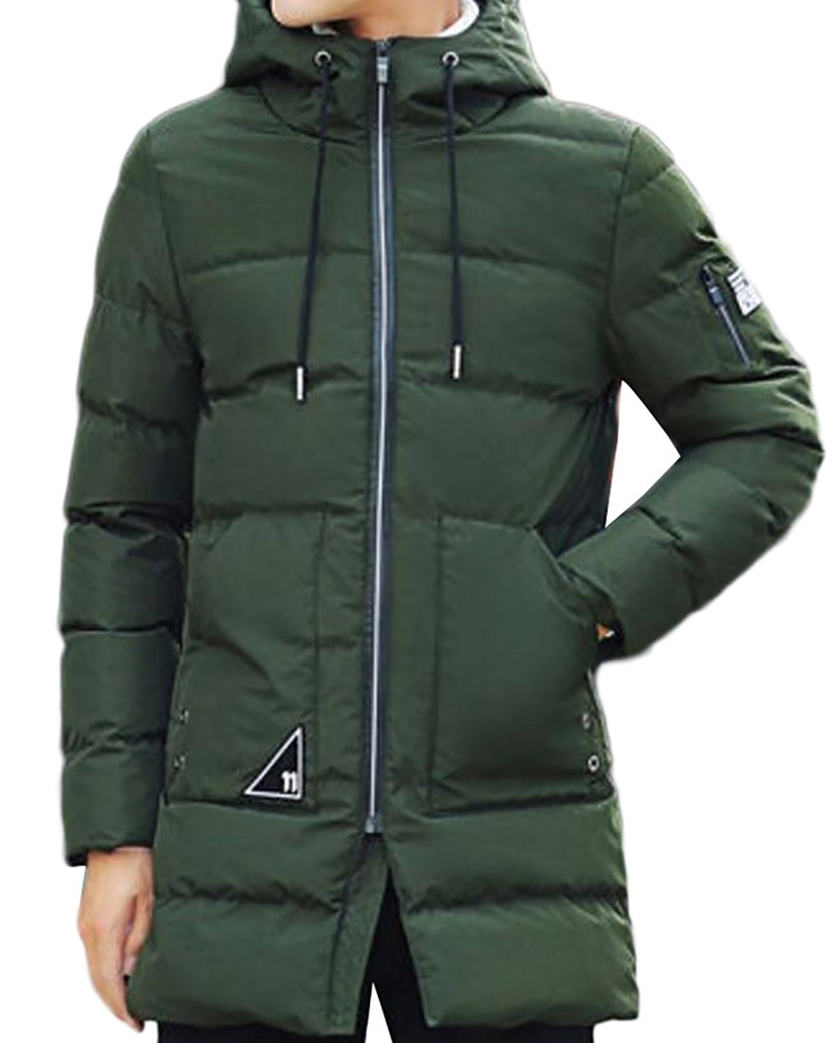 Pandapang Mens Cotton-Padded Hooded Casual Solid Overcoat Quilted Parkas Coat