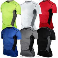 Men's Compression Base Layers Under Casual T-Shirts Skins Gear Tops Tees Quick Dry Plus Size
