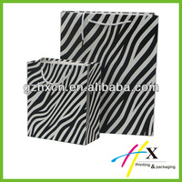 zebra printing shopping paper bag with pp rope