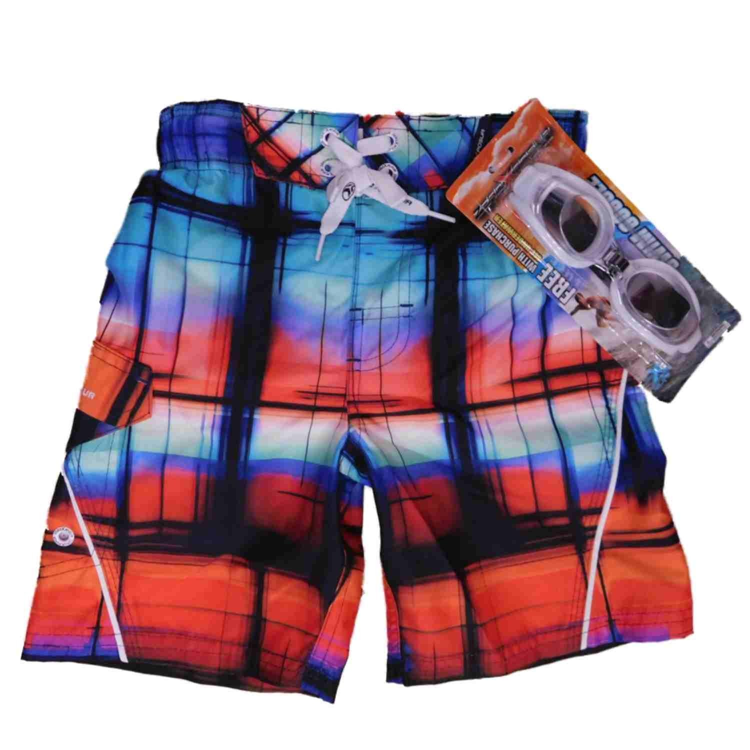 25ebece0d6 Get Quotations · ZeroXposur Boys Colorful Plaid Cargo Swim Trunks Board  Shorts